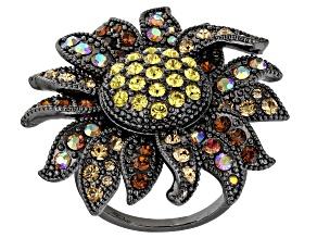 Pre-Owned Multi color Swarovski Elements ™ Gunmetal Tone Ring
