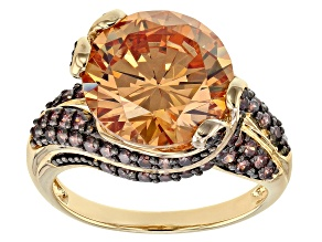 Pre-Owned Champagne And Brown Cubic Zirconia 18K Yellow Gold Over Silver Ring 13.00CTW