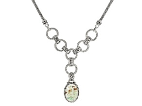 Pre-Owned Aquaprase Cabochon Sterling Silver Necklace