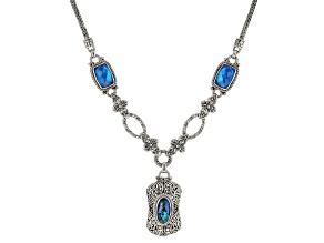 Pre-Owned Cobalt Blue Quartz Doublet & Blue Abalone Shell Triplet Silver Necklace