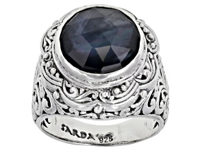 Pre-Owned Black Onyx Triplet Silver Solitaire Ring