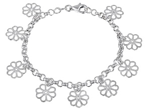 Pre-Owned Dangling Flowers Sterling Silver 7 inch Link Bracelet