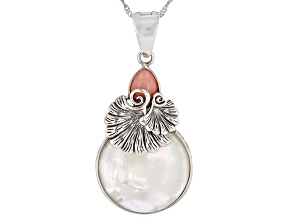 """Pre-Owned Mother-of-Pearl With Peru Opal Rhodium Over Silver Enhancer With 18"""" Chain"""