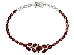 Pre-Owned Red Garnet Rhodium Over Sterling Silver Bracelet 10.13ctw