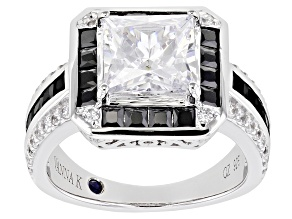 Pre-Owned Black And White Cubic Zirconia Platineve Ring 6.44ctw