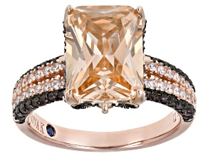 Pre-Owned Champagne, White And Mocha Cubic Zirconia 18k Rose Gold Over Sterling Silver Ring. 12.12ct