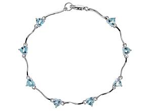 Pre-Owned  Sky Blue Topaz Rhodium Over Silver Bracelet 4.25ctw