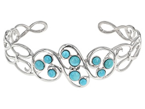 Pre-Owned Blue Turquoise Rhodium Over Sterling Silver Cuff Bracelet
