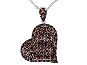Pre-Owned Red Garnet Rhodium Over Sterling Silver Heart Pendant With Chain 3.70ctw
