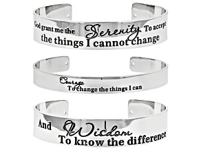 Pre-Owned Silver Tone Serenity Prayer Cuff Bracelet Set of Three