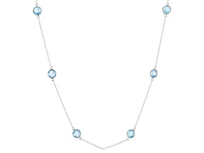 Pre-Owned Blue Topaz Rhodium Over Sterling Silver Necklace 32.45ctw