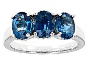 Pre-Owned Blue Topaz Rhodium Over Sterling Silver 3-stone Ring 2.75ctw