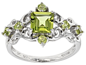 Pre-Owned Green Peridot Rhodium Over Sterling Silver Ring 1.43ctw