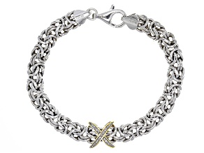 Pre-Owned White Diamond Accent Rhodium & 18k Yellow Gold Over Sterling Silver Bracelet .08ctw