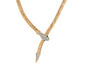 Pre-Owned Crystal Gold tone snake necklace