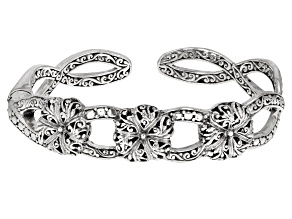 "Pre-Owned Sterling Silver ""Renewed Day By Day"" Floral Cuff Bracelet"