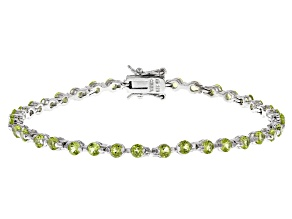 Pre-Owned Peridot Rhodium Over Silver Bracelet 4.25ctw
