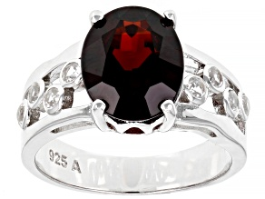 Pre-Owned Red Garnet Rhodium Over Sterling Silver Ring 4.50ctw