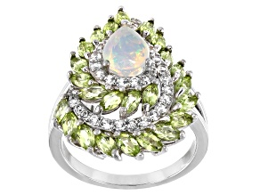 Pre-Owned Multi-color Ethiopian Opal Rhodium Over Silver Ring 2.54ctw