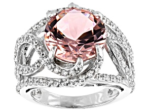 Pre-Owned Pink Morganite Simulant And White Cubic Zirconia Rhodium Over Silver Ring 8.25ctw