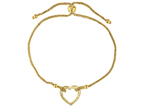 Pre-Owned 14K Yellow Gold Polished and Textured Heart Wheat Link 9.25 Inch Bolo Bracelet