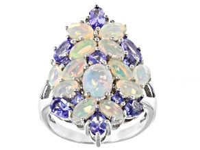 Pre-Owned Multi-Color Ethiopian Opal Rhodium Over Sterling Silver Ring 3.00ctw