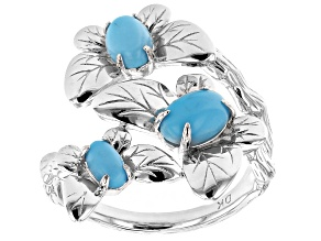 Pre-Owned Blue Sleeping Beauty Turquoise Rhodium Over Silver Bypass Ring