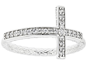 Pre-Owned White Cubic Zirconia Rhodium Over Sterling Silver Cross Ring 0.38ctw