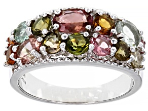 Pre-Owned Multi Color Tourmaline Rhodium Over Sterling Silver Cluster Ring 2.50ctw