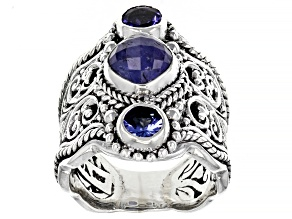 Pre-Owned Tanzanite Sterling Silver Filigree Ring 0.58ctw