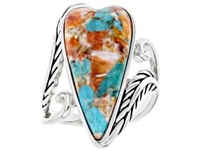 Pre-Owned Turquoise and Spiny Oyster Shell Rhodium Over Silver Ring 25x10x5