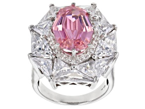 Pre-Owned Pink And White Cubic Zirconia Rhodium Over Sterling Silver Ring 19.75ctw