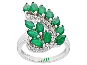 Pre-Owned Green Maquise Onyx With Round White Zircon Rhodium Over Sterling Silver Ring 2.38ctw
