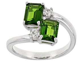 Pre-Owned Green Chrome Diopside Rhodium Over Silver Bypass Ring 1.82ctw