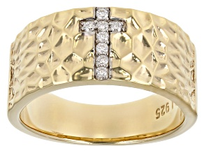 Pre-Owned Moissanite 14k yellow gold over silver mens cross ring .16ctw DEW.