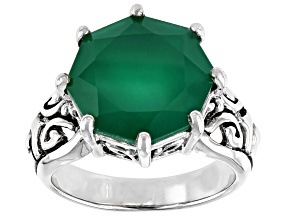 Pre-Owned Green onyx rhodium over sterling silver solitaire ring 5.20ct