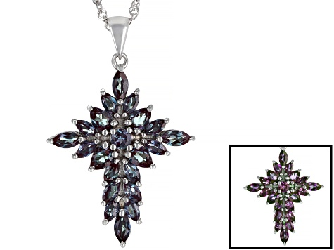 Pre-Owned Lab Created Alexandrite Rhodium Over Sterling Silver Cross Pendant With Chain 2.37ctw