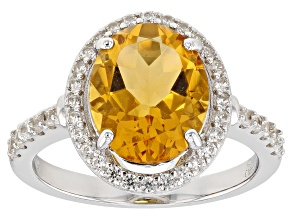 Pre-Owned Yellow Citrine Rhodium Over Sterling Silver Ring 3.05ctw