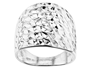 Pre-Owned Sterling Silver Dome Martellato Ring