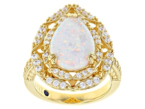 Pre-Owned Synthetic White Opal & White Cubic Zirconia 18k Yellow Gold Over Sterling Silver Ring 2.66