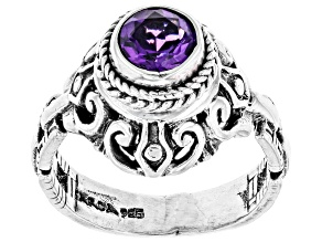 Pre-Owned Amethyst Rhodium Over Sterling Silver Ring 1.02ct