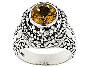Pre-Owned Yellow Citrine Sterling Silver Ring 1.51ct