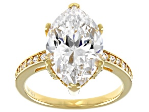 Pre-Owned Scintillant Cute White Cubic Zirconia 18K Over Sterling Silver Ring 9.99ctw