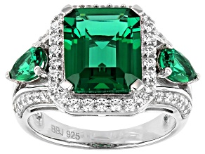 Pre-Owned Green and White Cubic Zirconia Rhodium Over Sterling Silver Ring 5.89ctw