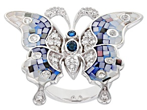 Pre-Owned Multi-Color Mother-Of-Pearl Rhodium Over Sterling Silver Butterfly Ring 1.36ctw