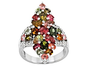 Pre-Owned Multi Color Tourmaline Rhodium Over Sterling Silver Ring 3.25ctw