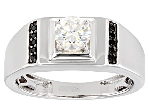 Pre-Owned Fabulite Strontium Titanate and black spinel rhodium over silver mens ring 1.19ctw