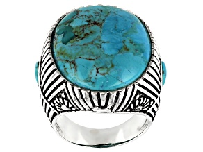 Pre-Owned Turquoise Rhodium Over Sterling Silver Mens Rising Sun Rays Ring