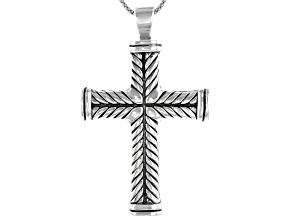 Pre-Owned Sterling Silver Cross Pendant With 20 Inch Popcorn Chain