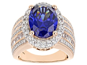 Pre-Owned Blue and White Cubic Zirconia 18k Rose Gold Over Sterling Silver Ring 12.25ctw